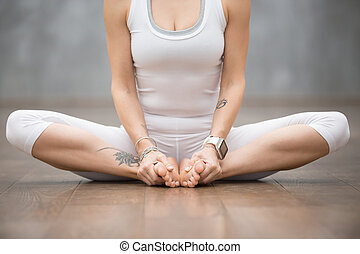Beautiful Yoga: butterfly pose - Beautiful young woman with...