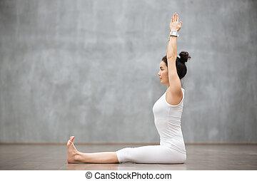 Beautiful Yoga: Dandasana, Staff pose - Side view portrait...