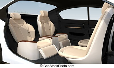 3D animation of business meeting layout in self driving car....
