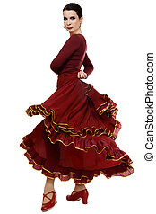 Flamenco dancer - Attractive woman dancing flamenco, over...