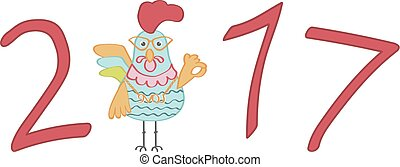 Cute cartoon rooster character illustration. Calendar...