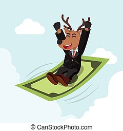 business deer ride a flying money