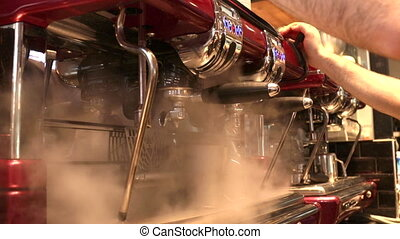 Clening industrial Italian barista with steam - hot steam...