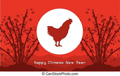 Rooster with bamboo background vector