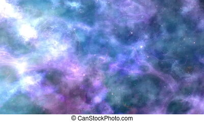 Lilac-Blue Space Nebula Background - Calm, looped camera...