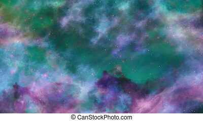 Blue and Green Space Nebula Background - Colored in blue and...