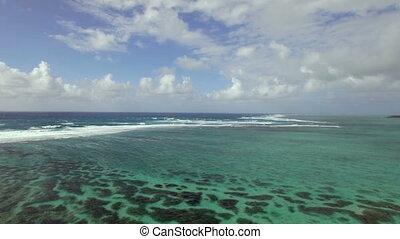 Insel, aus, fliegendes, kueste,  mauritius, indische, wasserlandschaft