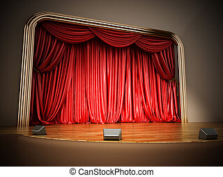 Theater stage with closed red curtain. 3D illustration