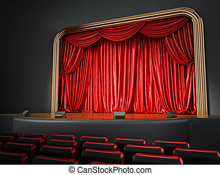 Theater room with red seatings. 3D illustration