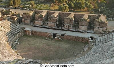 Greek Tragedy. Ruins of ancient theatre in Nysa....