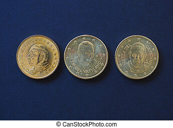 pope John Paul II, Benedict XVI and Francis I 50 cents coins...