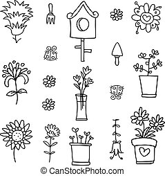 Collection of spring doodle set