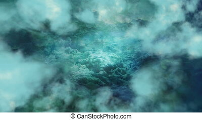 Emerald Clouds Background - Spectacular flight of the camera...