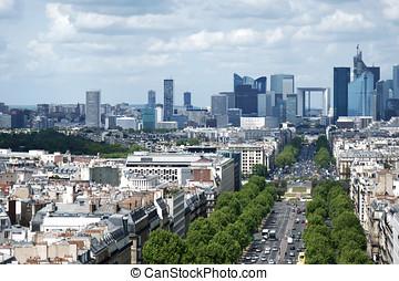 Paris Defense cityline - Morning view from Arc de Triomphe...