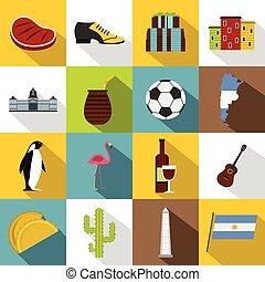 Argentina travel items icons set, flat style - Argentina...