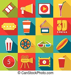 Movie items icons set, flat style