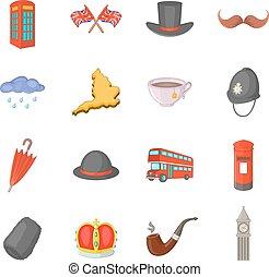 United kingdom travel icons set, cartoon style