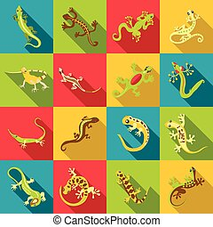 Different lizard icons set, flat style - Different lizard...