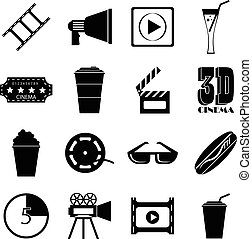 Movie items icons set, simple style