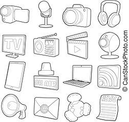 Media channels icons set, cartoon outline style