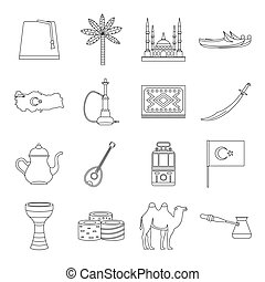 Turkey travel icons set, outline style - Turkey travel icons...