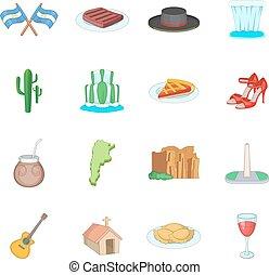 Argentina travel icons set, cartoon style - Argentina travel...