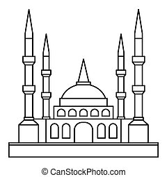 Muslim mosque icon, outline style - Muslim mosque icon....