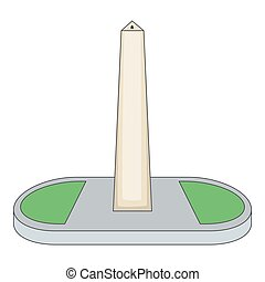 Obelisco of Buenos Aires, Argentina icon. Cartoon...