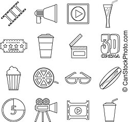 Movie items icons set, outline style