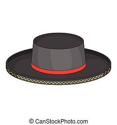 Black man fedora hat icon, cartoon style - Black man fedora...