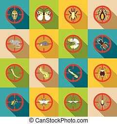 Pest control icons set, flat style - Pest control icons set....