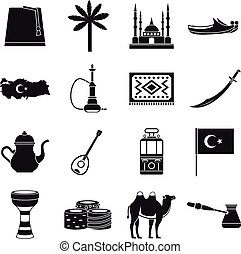 Turkey travel icons set, simple style - Turkey travel icons...