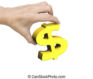Woman hand holding golden dollar sign, isolated on white...