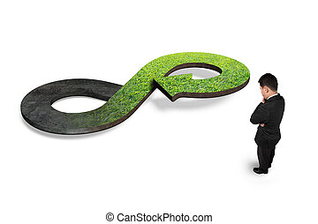 Green circular economy concept. Man looking at arrow...