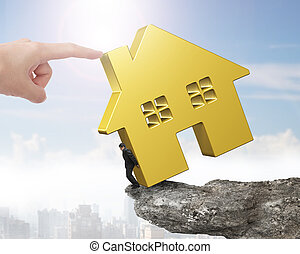 dorado, casa, Empujar, mano, borde, tenencia, acantilado,...