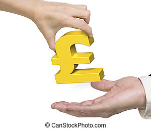 Woman hand giving golden pound symbol to man hand