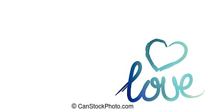Handlettering love illustration in blue with a heart