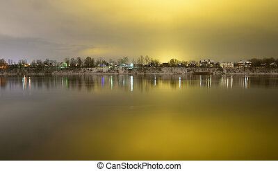 View of Neva River at evening. - View of Neva River at...