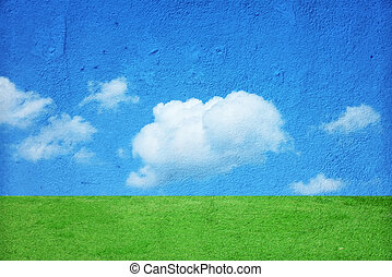 Landscape wall - Photo of the wall painted to landscape...