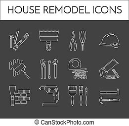 Set of thin white line house remodel icons