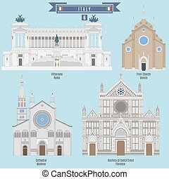 Famous Places in Italy: Vittoriano - Rome, Cathedral -...