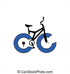 Abstract bicycle with blue wheels