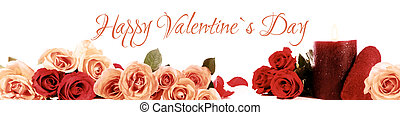 Happy valentine`s day - Panorama with roses and text happy...