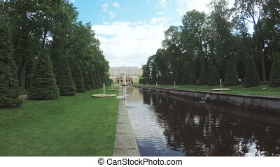 Channel with fountain in Peterhof - RUSSIA, SAINT...