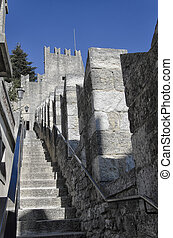 The battlements of the castle of San Marino