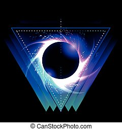 Black hole with starry vortex in triangle shape. Sacred...