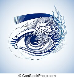 Abstract graphic eye decorated with seaweed and corals....