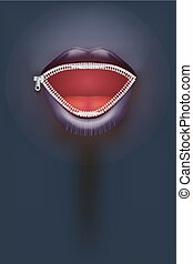Night club Poster. Female mouth with zipper on dark...