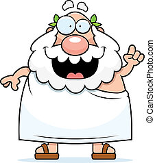 Greek Philosopher Idea - A happy cartoon Greek philosopher...