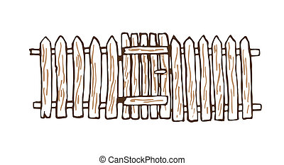Rustic fence made of wood. Illustration, background.